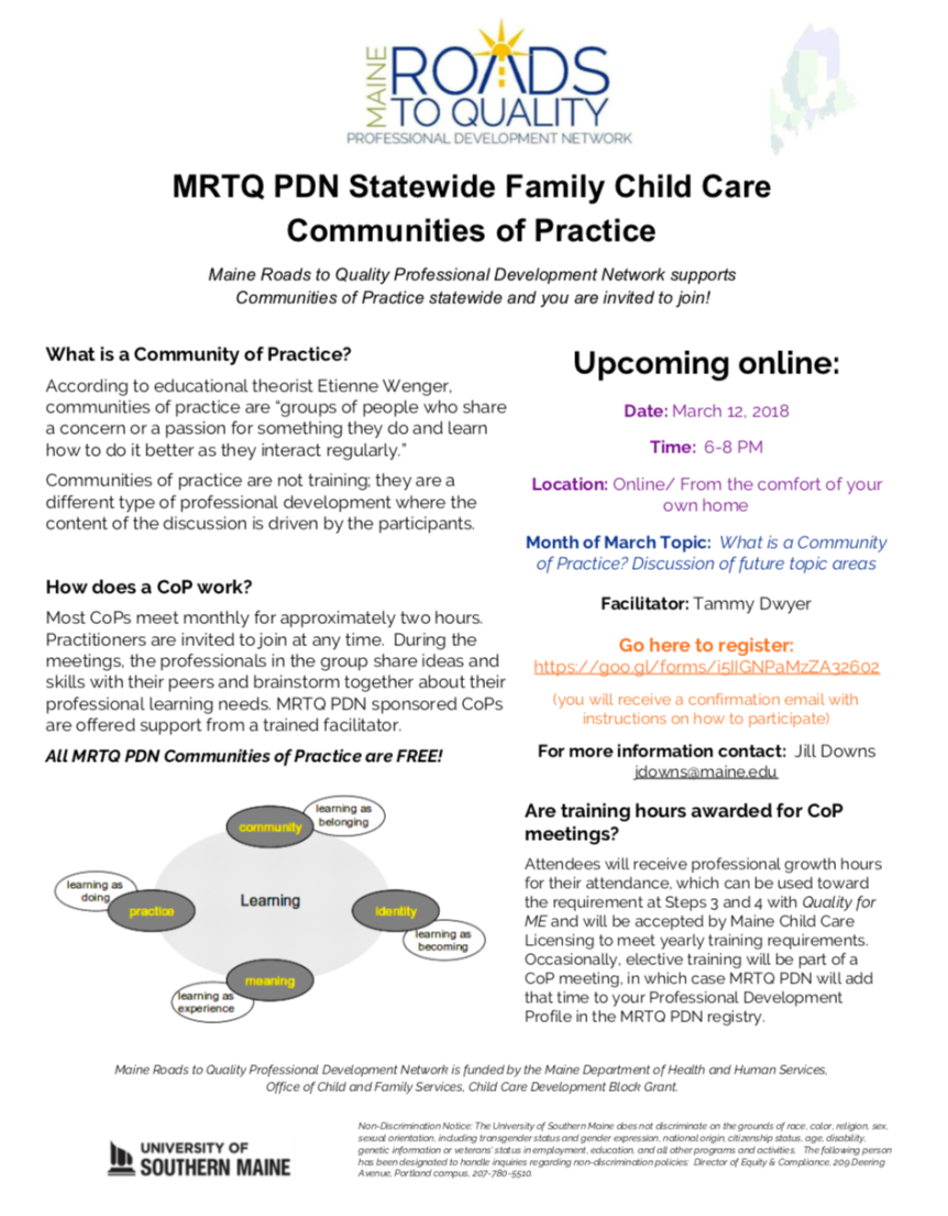 New Online Statewide Fcc Community Of Practice Family Child Care